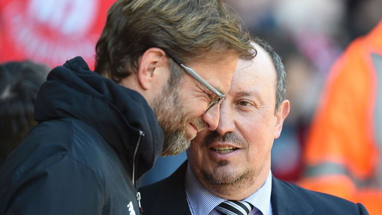 Liverpool boss Jurgen Klopp and former Anfield manager Rafa Benitez share a pre-match moment