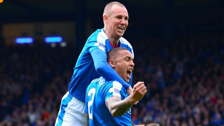 Kenny Miller and James Tavernier savour the latter's goal of the game