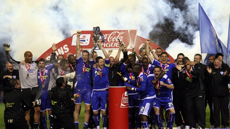 Leicester celebrate their promotion from League One in 2009