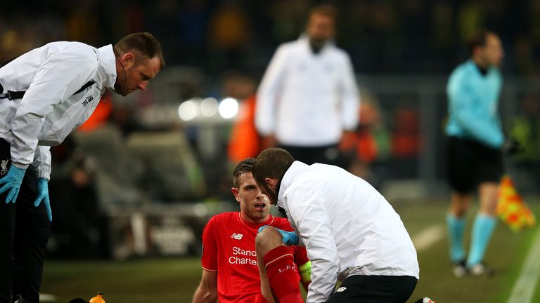 Jordan Henderson was replaced at half-time after picking up an injury