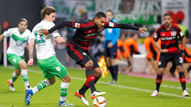 Tah (R) in action for Leverkusen against Wolfsburg in the Bundesliga in April