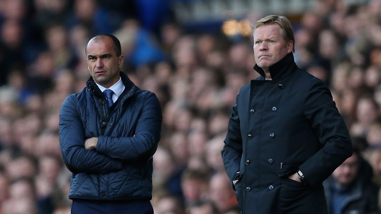 Koeman could take over from former Everton boss Roberto Martinez (left)