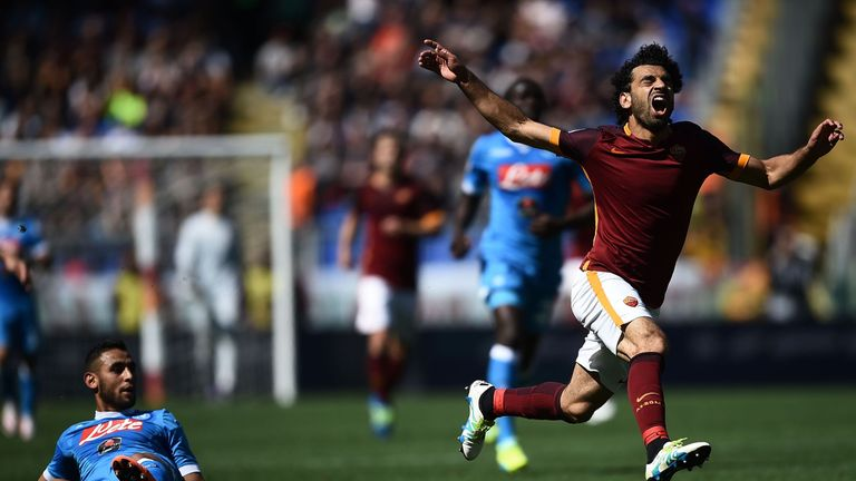 Roma's Mohamed Salah reacts after being fouled during Monday's game