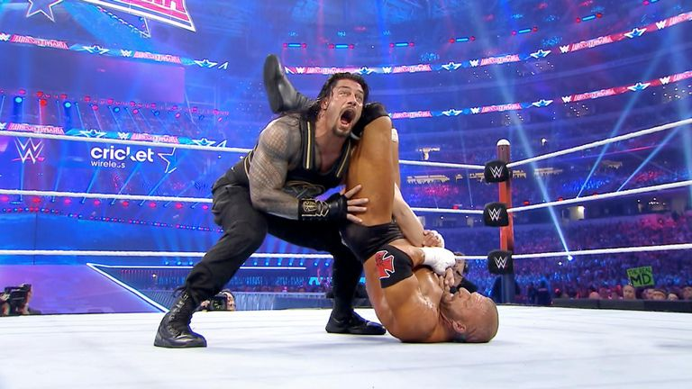 Roman Reigns and Triple H fought in WrestleMania's main event
