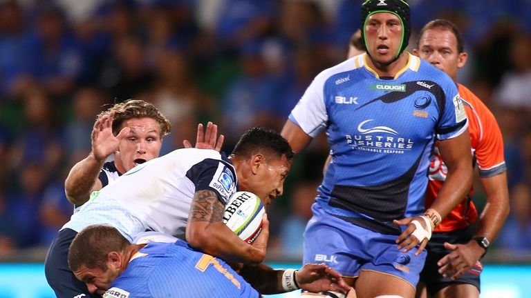 Israel Folau looked at ease in the Waratahs midfield