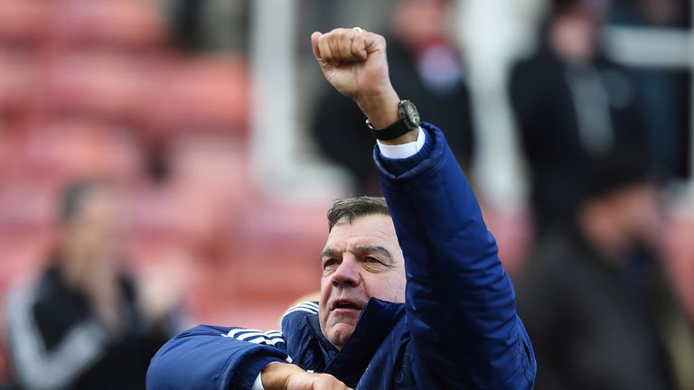 Sam Allardyce celebrates victory over Chelsea