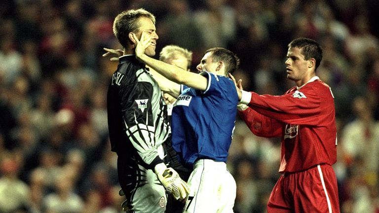 Jamie Carragher's first-ever Merseyside derby ended in defeat