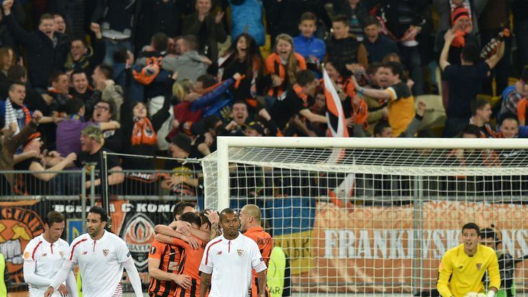 Shakhtar Donetsk celebrate Marlos' equaliser