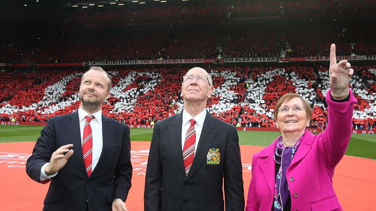 Executive vice chairman Ed Woodward, Sir Bobby Charlton and his wife Norma at Old Trafford
