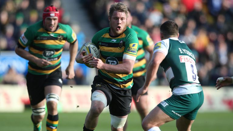 Teimana Harrison on the charge for Northampton