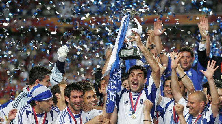 Greece celebrate their Euro 2004 success