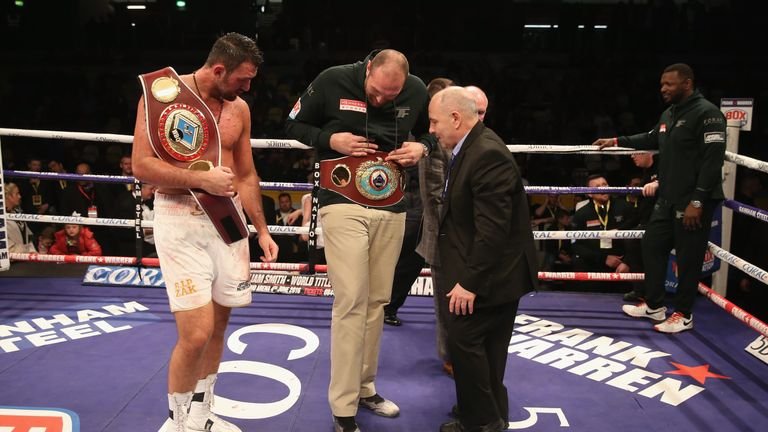 Tyson Fury joined Hughie in the ring to compare belts!