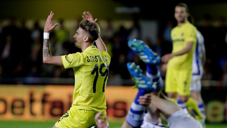 Villarreal's Samuel Castillejo shows his frustration during his side's 0-0 draw with Real Sociedad