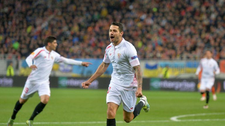 Vitolo celebrates his sixth minute opener at the Arena Lviv