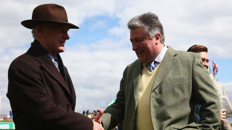 Willie Mullins congratulates Paul Nicholls at Sandown