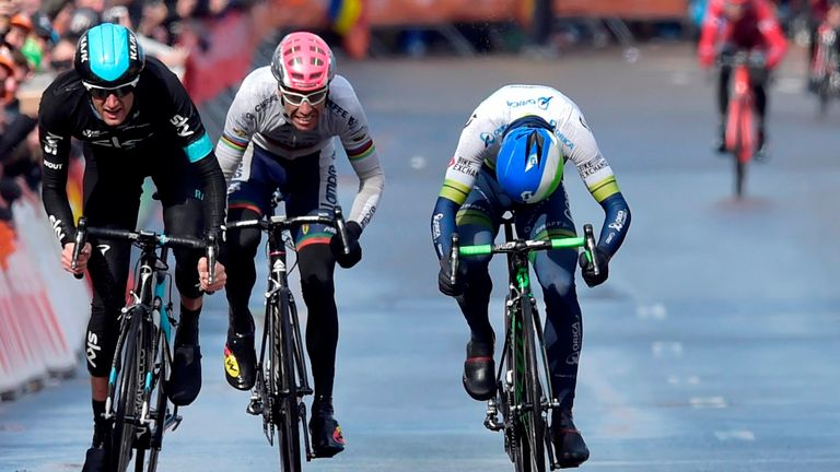 Poels (left) led out the sprint and won comfortably