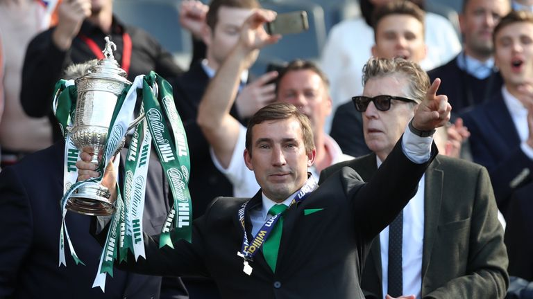 Stubbs celebrated winning the Scottish Cup with Hibernian