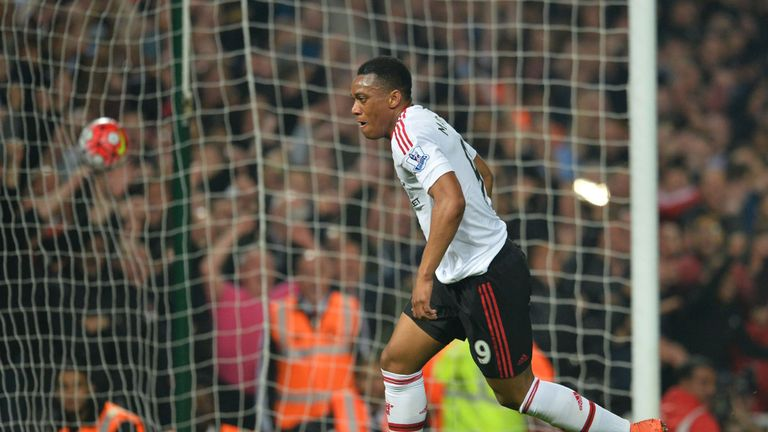 Manchester United's French striker Anthony Martial scored twice