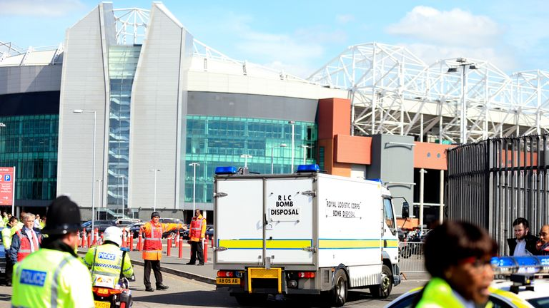 A Bomb Disposal vehicle outside of Old Trafford after the Manchester United v Bournemouth game was abandoned