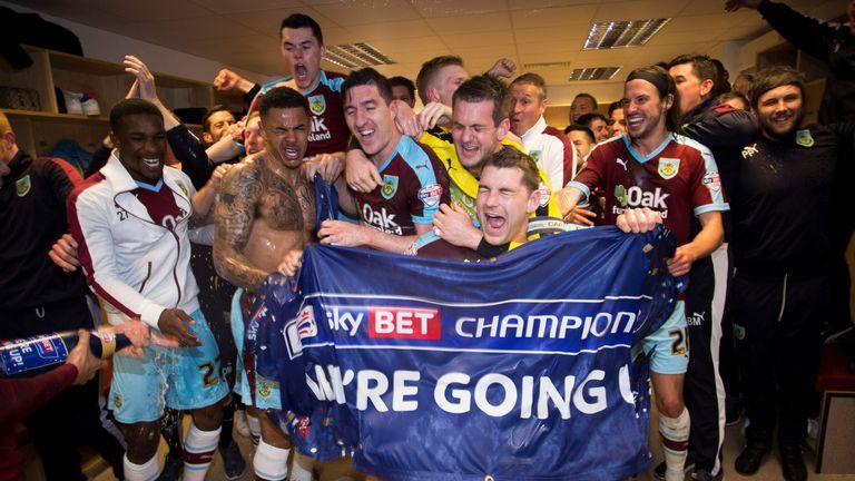 Burnley celebrate promotion after beating QPR 1-0 (Mark Robinson/SkyBet)
