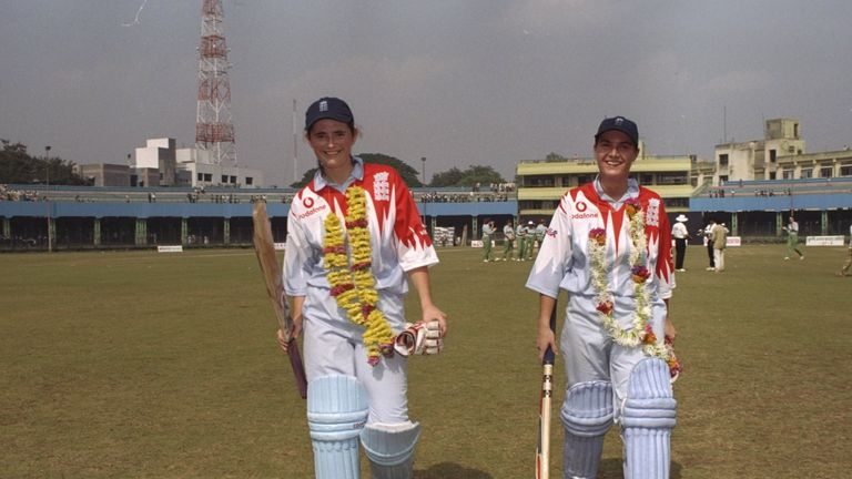 Charlotte Edwards (left) walks off after scoring a then record 173 in the 1997 Women's World Cup