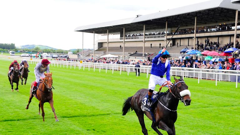 Awtaad, ridden by Chris Hayes, wins the Tattersalls Irish 2,000 Guineas