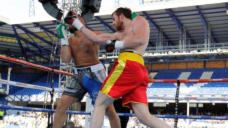 Vaclaj Pejsar (left) couldn't get up from a second uppercut knockdown