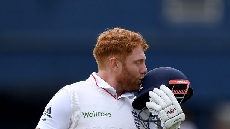 Jonny Bairstow kisses the England badge after scoring a century in Leeds