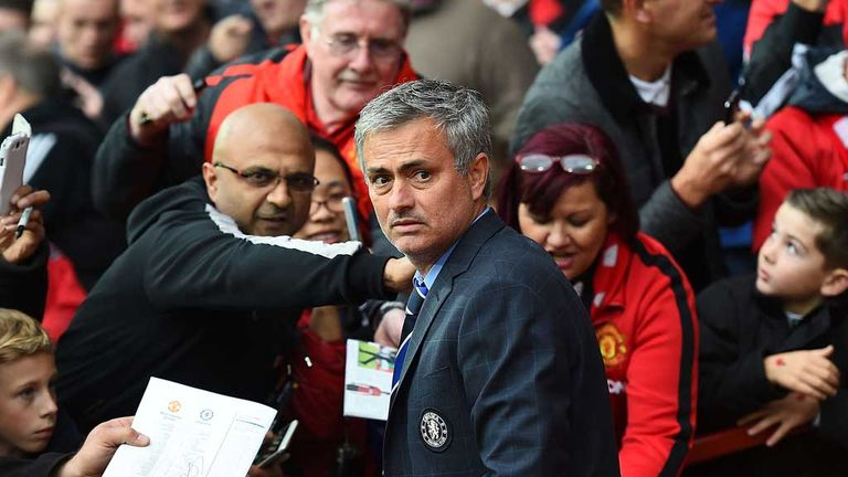 Jose Mourinho pictured at Old Trafford during his time as Chelsea manager in 2014