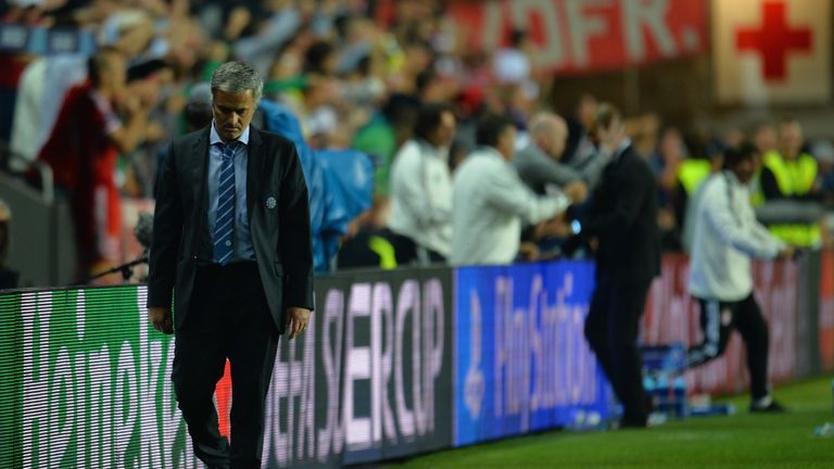 Mourinho can't hide his disappointment as Guardiola celebrates Bayern Munich's UEFA Super Cup win