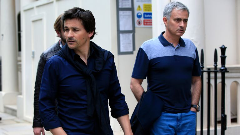 Rui Faria (left) pictured with Mourinho in London earlier this summer