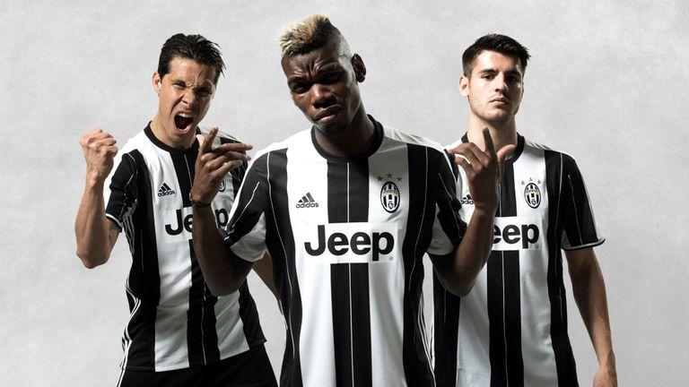 307496485a2 Hernandes, Paul Pogba and Alvaro Morata (L-R) model the new Juventus kit