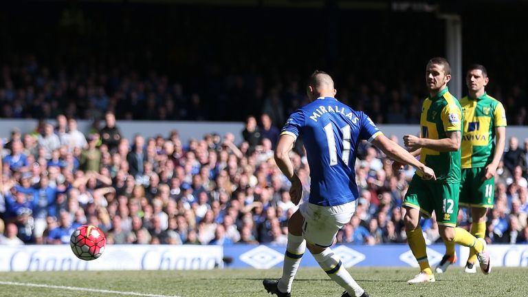 Kevin Mirallas of Everton scores his team's third goal against Norwich