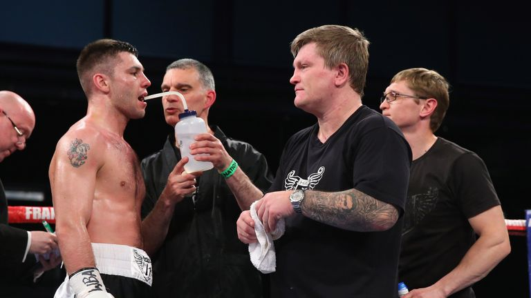 Kiryl Relikh (L) is promoted by former world champion Ricky Hatton