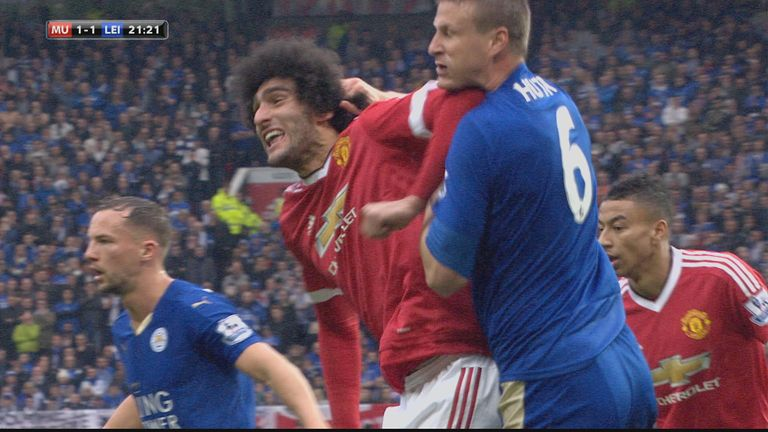 Marouane Fellaini's elbow caught Robert Huth in the neck as the ball came over into the box