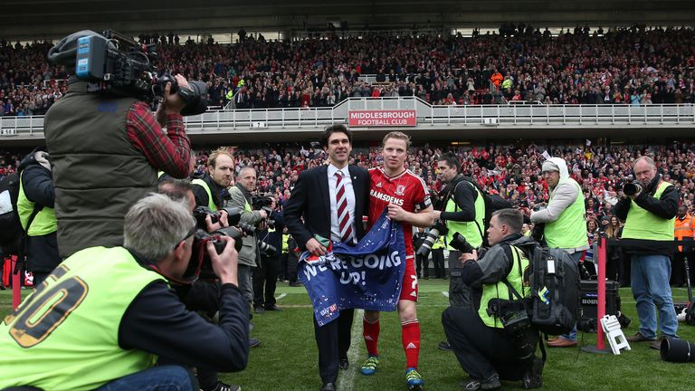 Aitor Karanka and Grant Leadbitter celebrate Middlesbrough's promotion to the Premier League