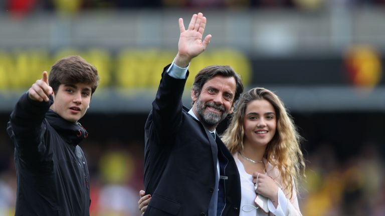 Watford manager Quique Flores waves to supporters