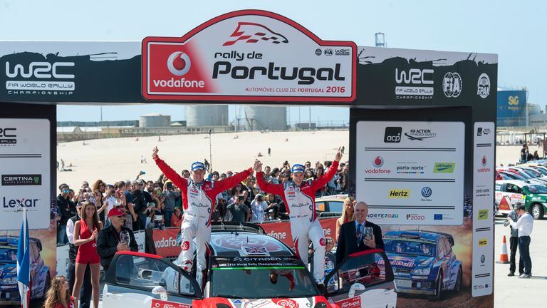 Kris Meeke (right) and co-driver Paul Nagle celebrate in Portugal