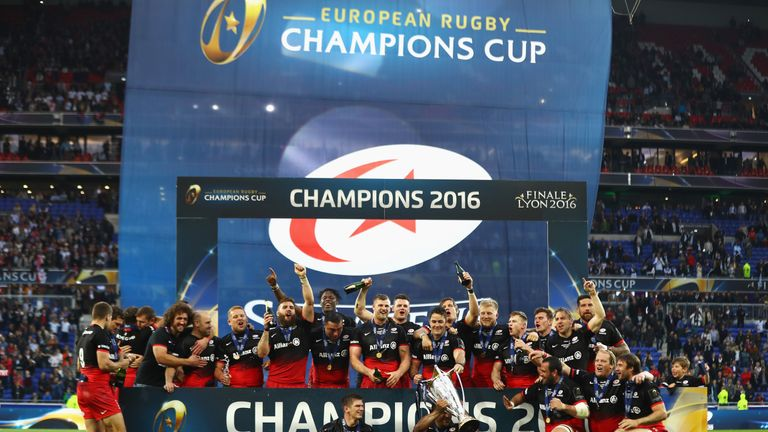 Saracens players celebrate after winning the Champions Cup final