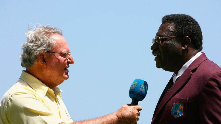 Commentator Tony Cozier interviewing Clive Lloyd in 2007