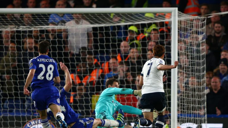 Tottenham forward Son Heung-Min scores his team's second goal