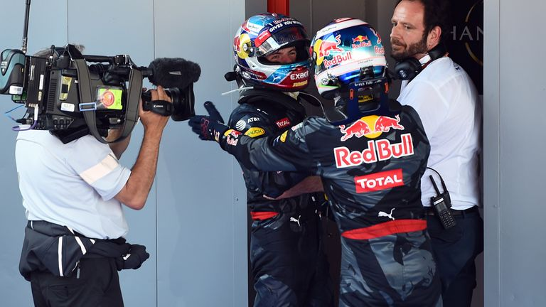 Red Bull team-mate Daniel Ricciardo congratulates Max Verstappen on his victory of the Spanish GP