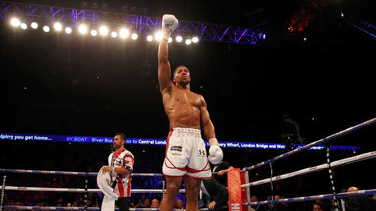 Joshua celebrates successfully defending his title