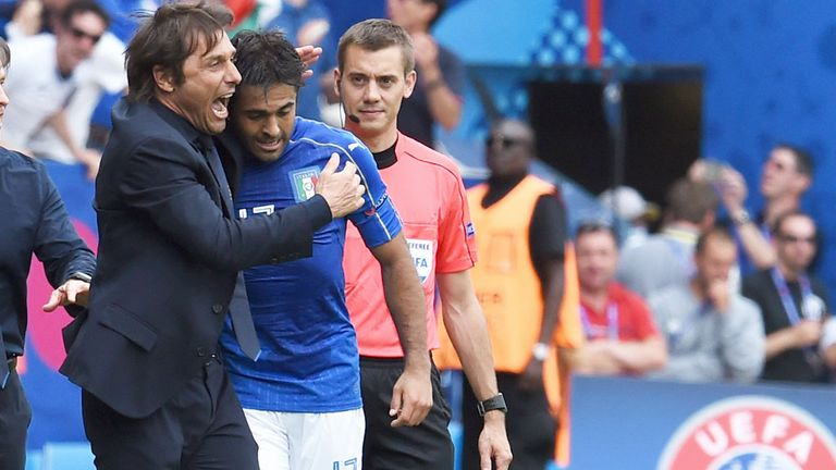 Antonio Conte helped guide Italy to victory over the then European champions Spain at Euro 2016