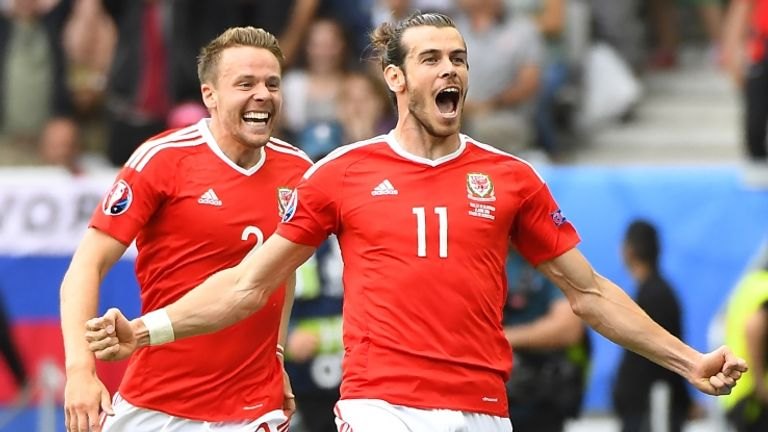 Bale celebrates opening the scoring for Wales