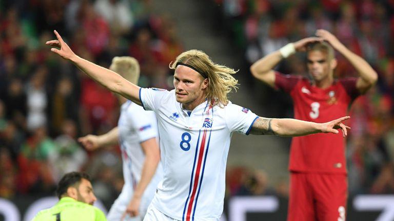 Iceland midfielder Birkir Bjarnason celebrates his equaliser in the 50th minute