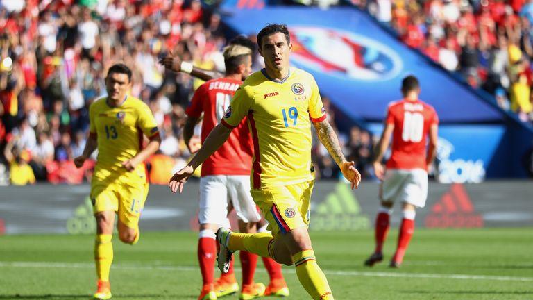 Bogdan Stancu celebrates scoring Romania's goal