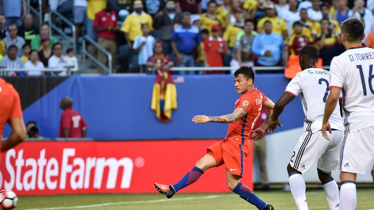 Charles Aranguiz scored Chile's first goal in the seventh minute against Colombia in the semi-final