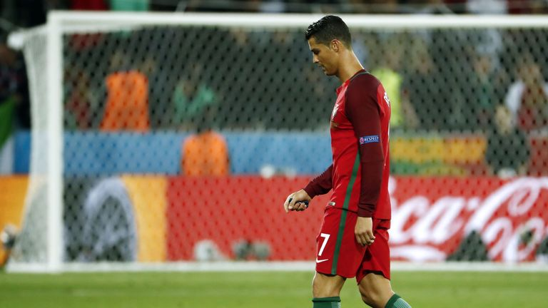 Cristiano Ronaldo walks off disappointed at the final whistle