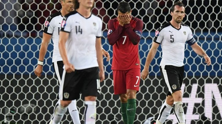 Cristiano Ronaldo missed a penalty in Portugal's 0-0 draw with Austria on Saturday